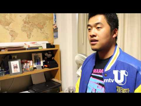 college - Collin shows off his Sproul dorm room on 