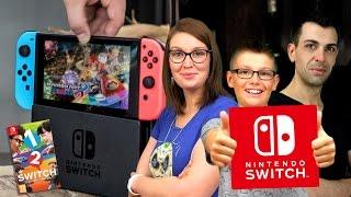 Unboxing Nintendo Switch FR présentation console & gameplay challenge 1-2-Switch - Family Geek 🔹 Achète aussi ta console, accessoire et jeux Switch : http://...