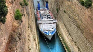 Corinth Greece  city pictures gallery : Ship traffic in Corinth Canal - Greece