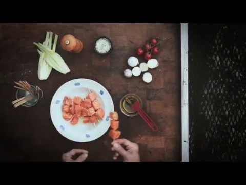 Spiedini di salmone norvegese alla griglia