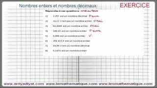 Maths 6ème - Nombres entiers et nombres décimaux Exercice 1