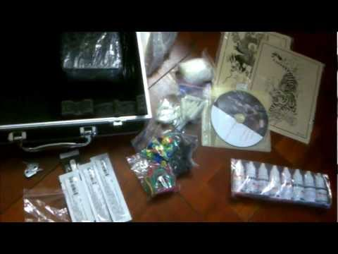 Professional Tattoo Kit 4 Machine Guns Power Supply Unboxing