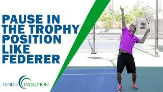 Subscribe to my channel: https://goo.gl/gKVH1o Most tennis players copy Roger Federer's style of pausing in the trophy position.