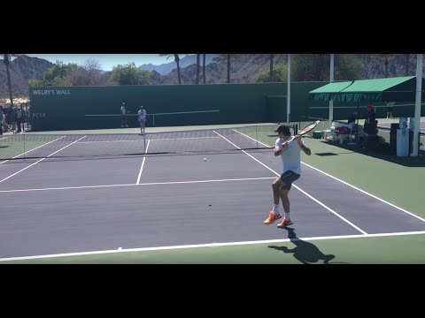roger - Roger warming up groundstrokes at beginning of video. Roger at net starting 5:40. Roger practicing serves at 8:47. Roger in the front court practicing return...