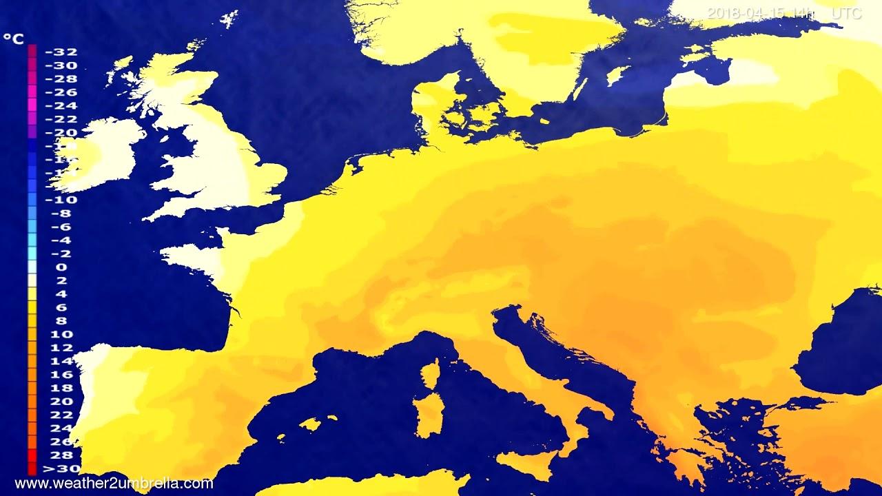 Temperature forecast Europe 2018-04-13