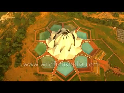 Lotus temple in Delhi, as seen aerially - World Heritage site?