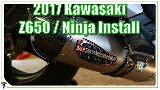 7. 2017 Kawasaki Z650 / Ninja 650 Exhaust Install Yoshimura Alpha | Before and After!
