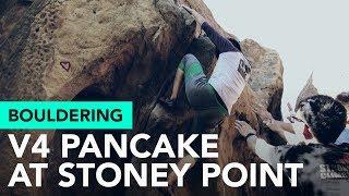 Stoney Point climbing with friends - Pancake V4 (sit start) by  rockentry