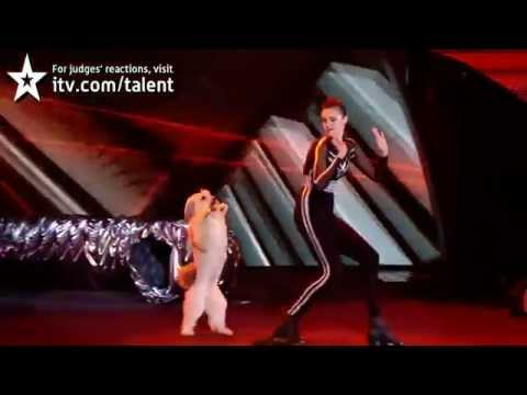 """美女與狗狗跳舞-007詹姆士·龐德""""mission impossible""""做背景音樂-真是太可愛了"""