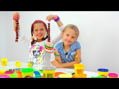 Видео для детей. Пластилин ПЛЕЙ ДО, Ксюша и Настя. Ждем гостей! (видео)