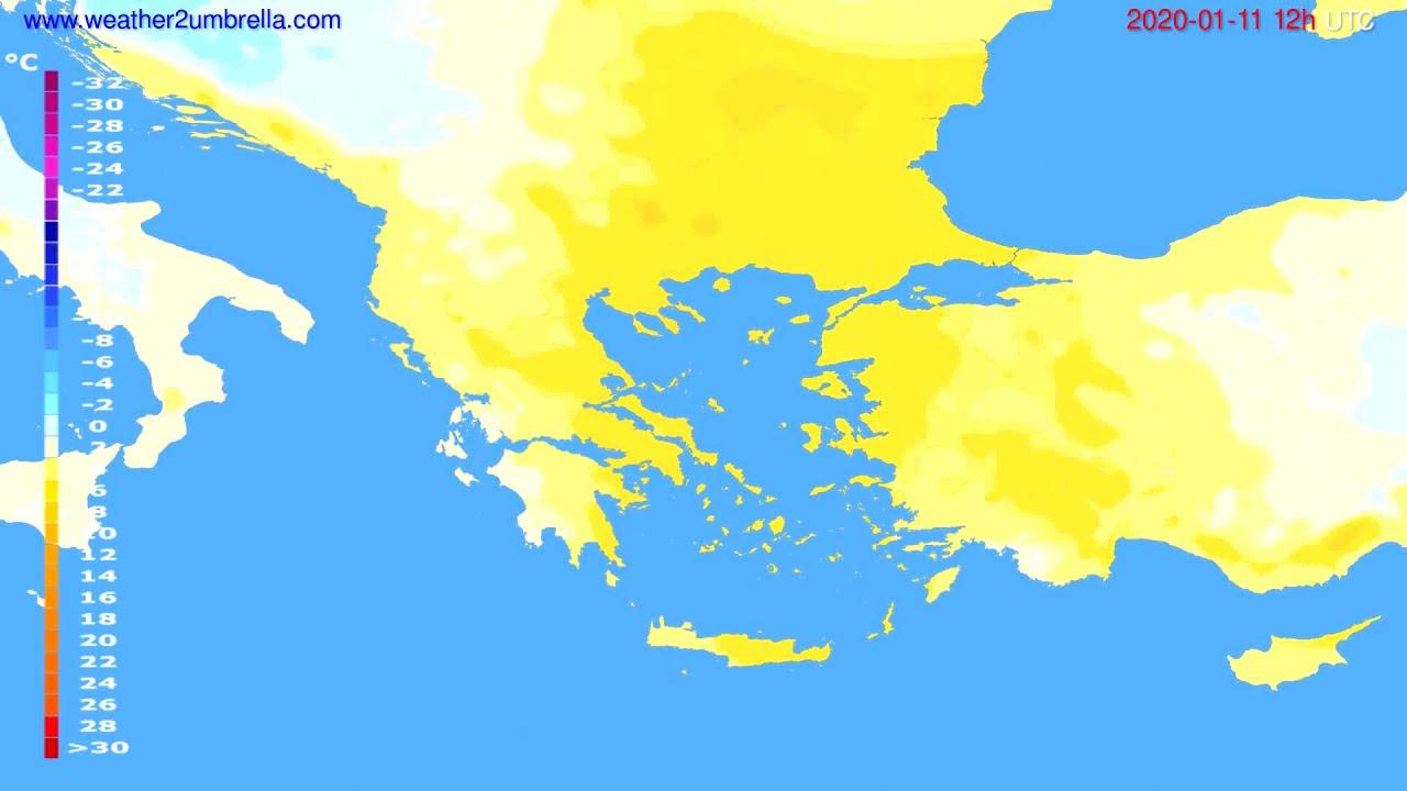 Temperature forecast Greece // modelrun: 12h UTC 2020-01-10