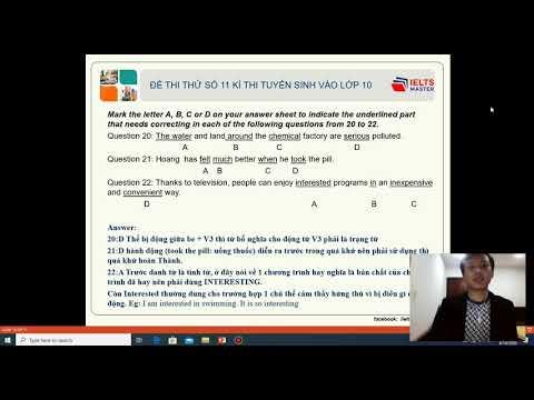 Luyện Thi Anh Văn vào Lớp 10 (test 11 - part 2) - THCS & THPT Phạm Ngũ Lão và IELTS Master HCM