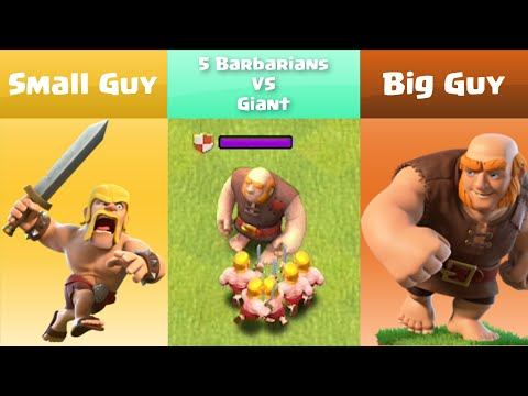 Every Level Barbarian VS Every Level Giant | Clash of Clans