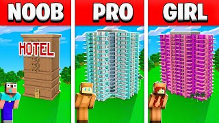 NOOB vs PRO vs GIRL FRIEND HOTEL BUILD BATTLE! (Building Challenge)