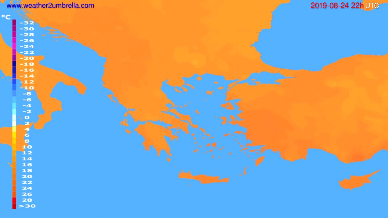 Temperature forecast Greece // modelrun: 00h UTC 2019-08-22