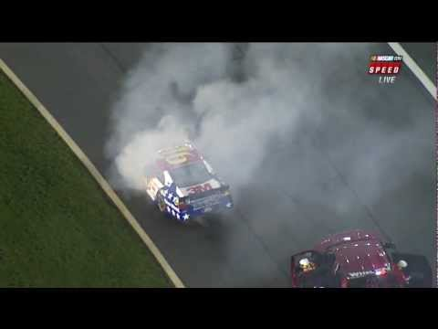 Smoke and Flames on Greg Biffle's Car
