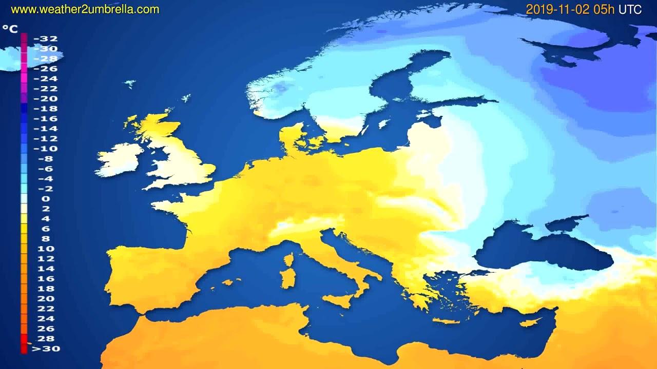 Temperature forecast Europe // modelrun: 12h UTC 2019-10-31
