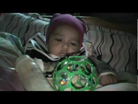 Oball  infant dexterity helper toy review on 3 month old baby