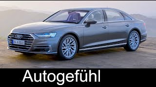 Content summary with timecodes below!00:01 Audi A8 Exterior04:21 Audi A8 Interior09:36 Audi A8L Exterior13:04 Audi A8L InteriorTECHNOLOGY18:18 Mild Hybrid System & Active Suspension20:47 All Wheel Steering23:29 Audi A8 e-tron wireless charging25:58 Laser interior light27:21 Traffic jam autonomous driving29:24 Parking pilot for garages32:23 How the sensors work around the car34:02 Audi A8 studio shots Exterior/Interior►Subscribe and/or bookmark our direct channel link: http://www.autogefuehl.com►German Blog: http://autogefuehl.de►Support us on Patreon: http://www.patreon.com/autogefuehl►Exclusive supporter: Ajlan SaeedFacebook: http://facebook.de/autogefuehlTwitter: https://twitter.com/autogefuehlInstagram: https://instagram.com/autogefuehl/***Playlists for latest reviews***FULL REVIEWS 2017 Q1https://www.youtube.com/playlist?list=PLZqvo5rXklBtwPV_F4cqB40QlFsawxoOEFULL REVIEWS 2016 Q4https://www.youtube.com/playlist?list=PLZqvo5rXklBtncxZTBvBfQdWq_2E6USylFULL REVIEWS 2016 Q3https://www.youtube.com/playlist?list=PLZqvo5rXklBvcCchzmYGKO4772Z56TbXr***Playlists for car genres***Editor's selection: https://www.youtube.com/playlist?list=PLZqvo5rXklBu5QXupPfHGk7Us_DMdYXJmSpecial Autogefühl episodes: https://www.youtube.com/playlist?list=PLZqvo5rXklBtXepNh8Z6jLggfesUgYbAhElectric and Hybrid cars: https://www.youtube.com/playlist?list=PLZqvo5rXklBs7RsNpRxtufV2BhlIrhN5DSUV: https://www.youtube.com/playlist?list=PLZqvo5rXklBvM3V3EULxIMiunEY5zc9rALuxury cars: https://www.youtube.com/playlist?list=PLZqvo5rXklBsrLqf_McZXk7dn1mZdD3bfPerformance cars: https://www.youtube.com/playlist?list=PLZqvo5rXklBvjhJmuIELK7TMIfnakc-YgSupercars: https://www.youtube.com/playlist?list=PLZqvo5rXklBspcWuuce-4mwBlG3H41HEC