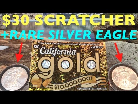 OMG GIVING AWAY BIG $30 CALIFORNIA GOLD SCRATCHERS AND REAL SILVER EAGLE RARE COIN!!!