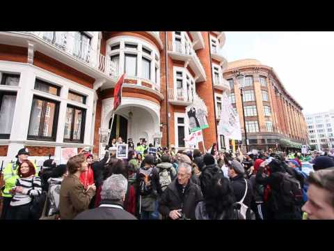 Free Julian Assange Rally - Ecuador Embassy London - 1st March 2014