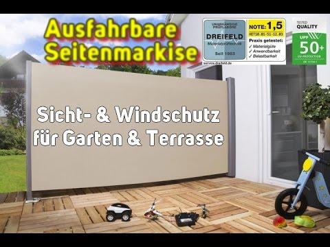 Ausfahrbare Seitenmarkise Funktion - Sichtschutz   Windschutz