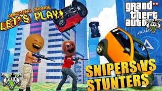 Annoying Orange & Midget Apple - GTA V: Snipers VS Stunters!