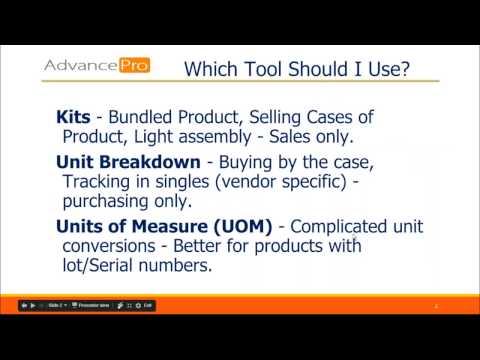 Kits, UOM, and vendor breakdowns in AdvancePro