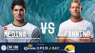 Gabriel Medina battles Mick Fanning in Heat 1 of the Quarterfinals at the 2017 Corona Open J-Bay. #WSL #jbay Subscribe to the...