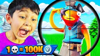 7 Year Old Wins 100K Vbucks If He Gets 1 Elimination (Fortnite: Battle Royale)