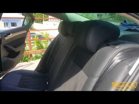 """Чехлы на Volkswagen Passat B8, серии """"Alcantara"""" с ромбами - черная строчка"""