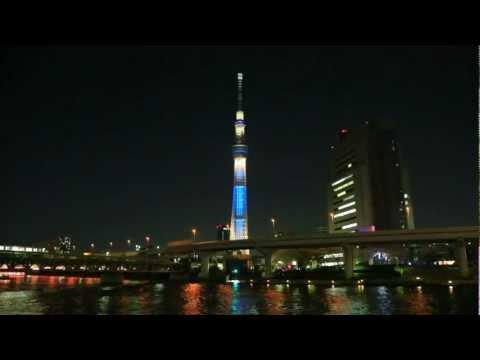 「夜桜&東京スカイツリーという組み合わせの美しすぎる夜景映像」のイメージ