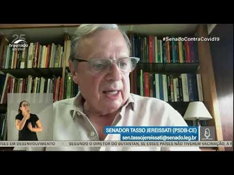 """Tasso Jereissati na CPI: """"Infelizmente existem pessoas que pensam igual a Bolsonaro, contra a vacina"""""""