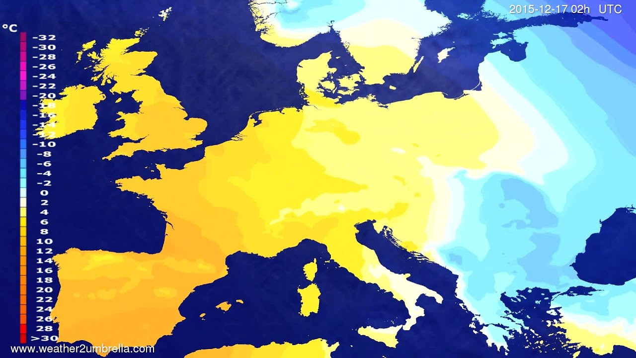 Temperature forecast Europe 2015-12-13