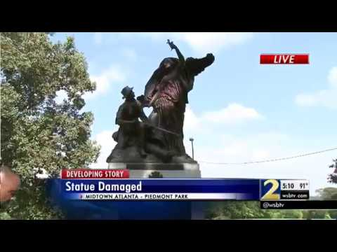 Mayor urges protesters to be peaceful after Piedmont Park statue damaged