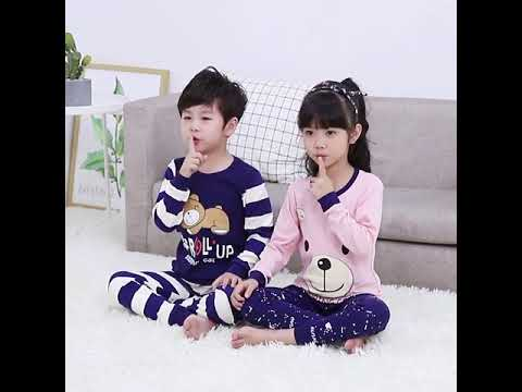 Осень зима 2020 детские пижамные комплекты одежда для маленьких девочек и ма… видео