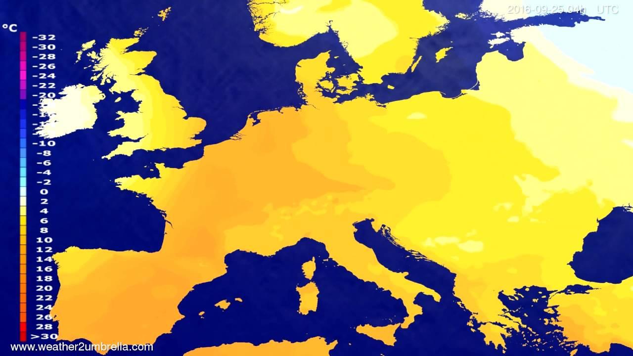 Temperature forecast Europe 2016-09-21