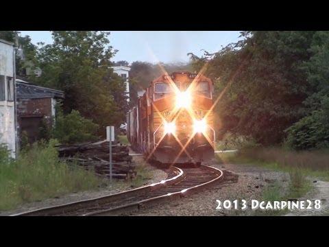 BNSF Power Leads Pan Am train WAPO through Auburn, Maine