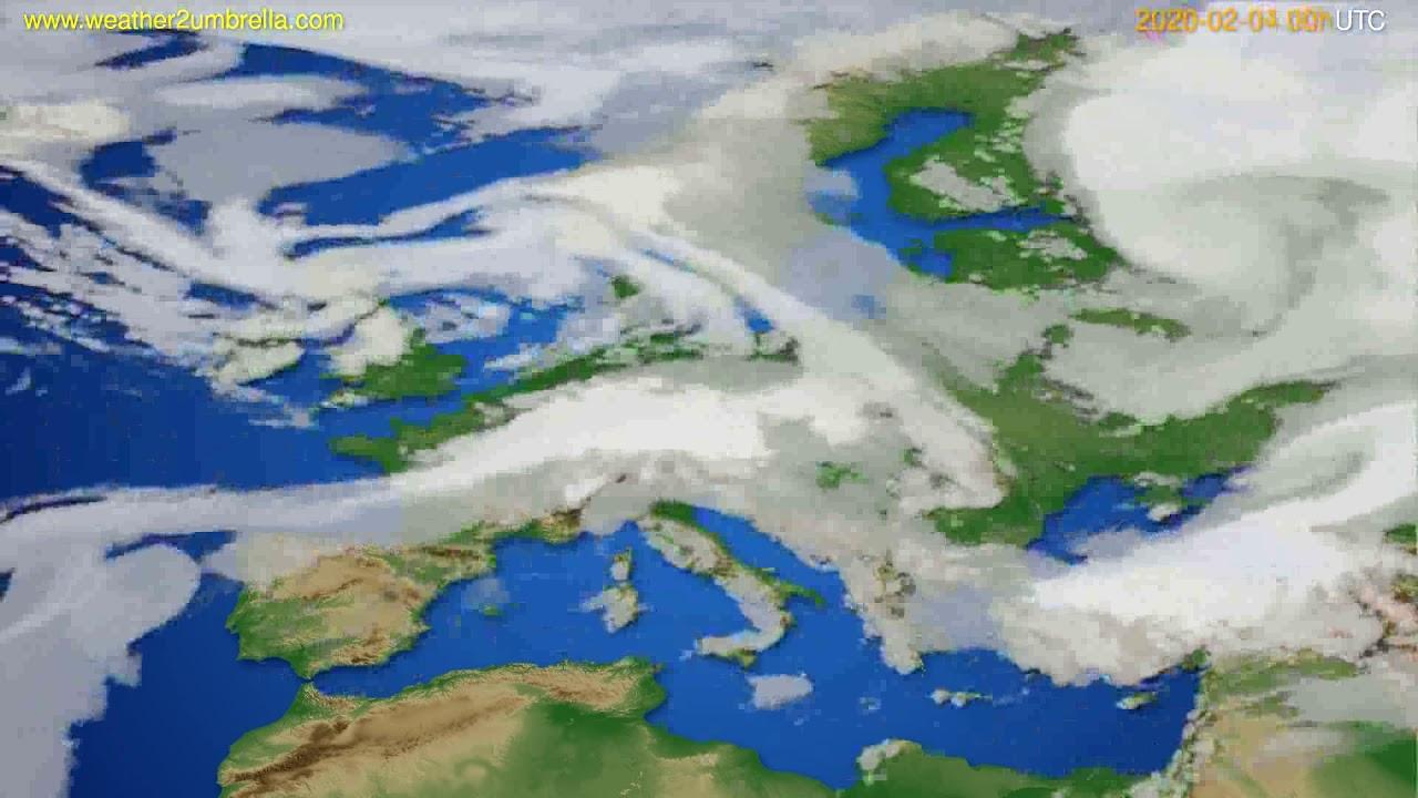 Cloud forecast Europe // modelrun: 00h UTC 2020-02-03