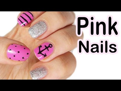 nail art - pink nautical