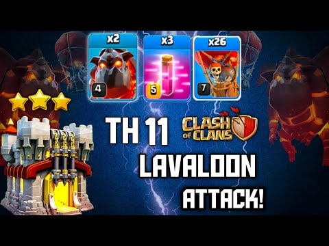 TH11 Best LavaLoon Attack Strategy | 2 Lava + 26 Balloon + 3 Haste spell Smash TH11 War Base