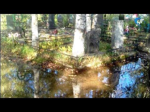 Новгородцы жалуются на затопленное Западное кладбище