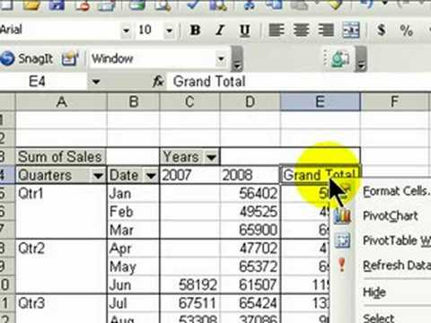Summarize by Year, Quarter & Month with Pivot Tables