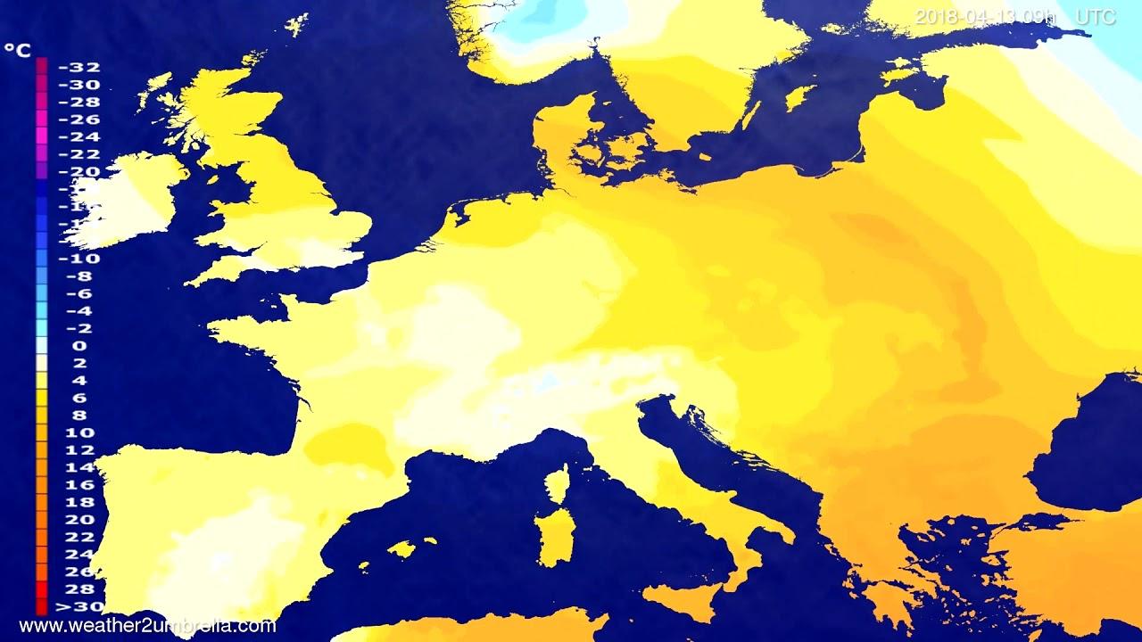 Temperature forecast Europe 2018-04-09