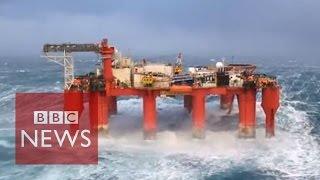 Video Huge waves crash against swaying North Sea oil rig MP3, 3GP, MP4, WEBM, AVI, FLV November 2018