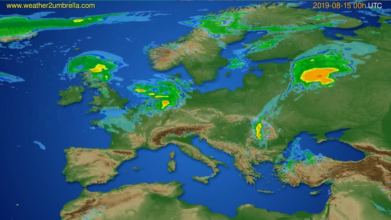 Radar forecast Europe // modelrun: 12h UTC 2019-08-14