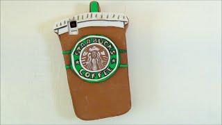 Funda para móvil con la forma de un vaso de café del Starbucks. Manualidades fáciles - YouTube