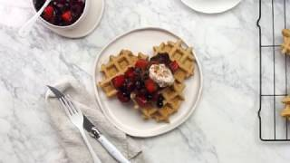 These are, hands down, my new favourite waffles. They're essentially a bowl of oatmeal in a handy waffle shape -- so they keep you full for ages, but they're...