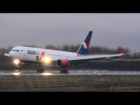 Wing condensation & vortex snakes | Azur Air Boeing 767-300ER | rainy evening landing (видео)