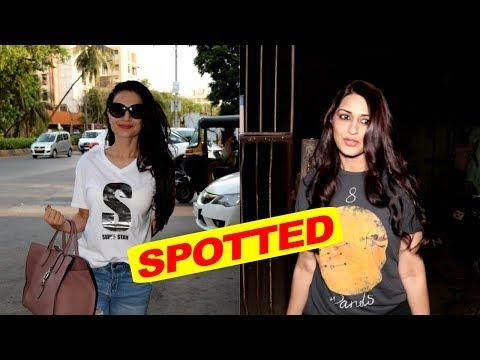 Amisha Patel & Sonali Bendre Spotted At Kromakay Salon in Juhu, Mumbai